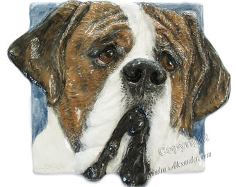 St Bernard Dog Tile CERAMIC Portrait Sculpture 3d Art Tile Plaque FUNCTIONAL ART by Sondra Alexander In Stock