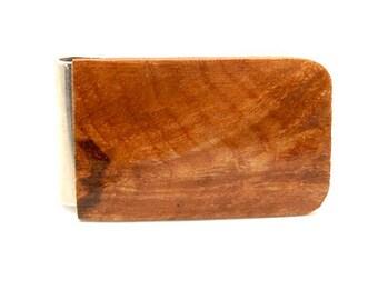 Handmade Wood Money Clip Australian Brown Malle Burl Wood
