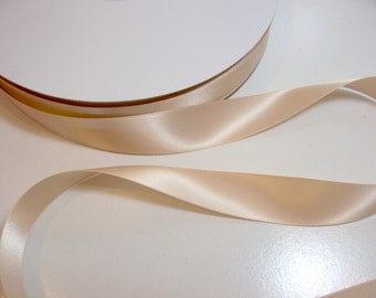 Light Gold Ribbon,  Double-Faced Light Gold Satin Ribbon 7/8 inches wide x 8 yards, Offray Raw Silk Ribbon