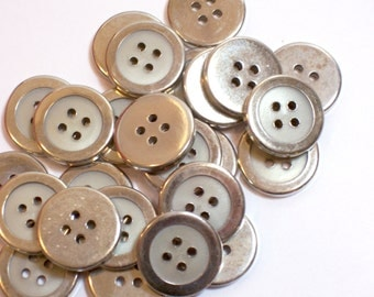 Silver Buttons, Silver and Gray Buttons, Silvertone Metal Buttons 3/4 inch diameter x 25 pieces, 4 Hole