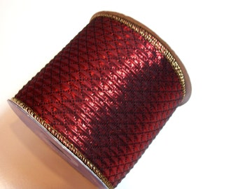 Burgundy Ribbon, Offray Burgundy Grandville Wired Fabric Ribbon 4 inches wide x 10 yards, Full Bolt, Quilted Ribbon