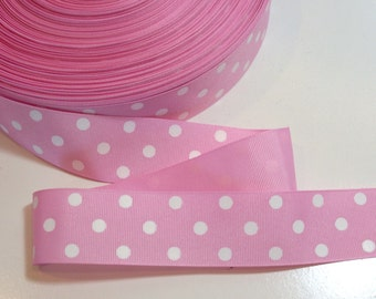 Pink Ribbon, Light Pink and White Polka Dot Grosgrain Ribbon 1 1/2 inches wide x 10 yards