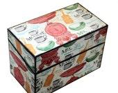 Wood Recipe Box Retro Measure Mix Stir Fits 4x6 Recipe Cards