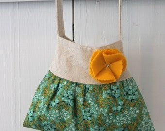 little girls boho purse in green and yellow floral girls birthday gift