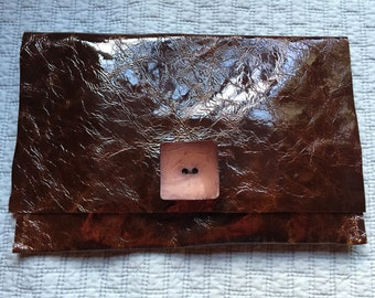 Brown Patent Leather Clutch