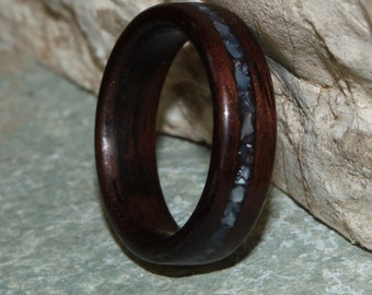 East Indian Rosewood with Slightly Offset Mother of Pearl Inlay Wood Ring (Size 4.25; 5mm width) // Wooden Wedding Band // Wood Wedding Ring