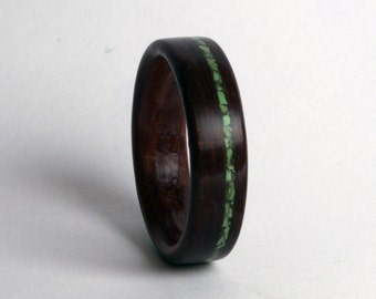 Leadwood Ring with Offset Inlay of Gaspeite Stone (In Stock Size 10; 6mm wide - Custom Sizes available upon request) // Wood Wedding Ring
