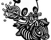 zebra panda t-shirt womens cute kawaii ramen noodles