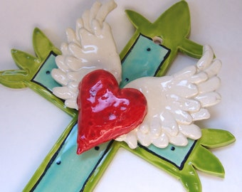ceramic Cross colorful pottery Mexican folk art Turquoise & Lime heart with wings, winged heart tattoo, sacred heart