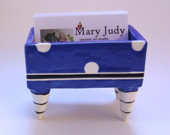 delft blue Business Card Holder pottery dish :) with polka dots, black & white striped legs, delphinium blue office decor dad gift