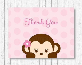 Cute Monkey Thank You Card / Monkey Baby Shower / Pink Monkey / Girl Monkey / Folded Card Template / PRINTABLE Instant Download