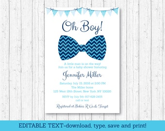 Bow Tie Baby Shower Invitation / Bow Tie Baby Shower / Chevron Bow Tie / Oh Boy Baby Shower / INSTANT DOWNLOAD Editable PDF A113