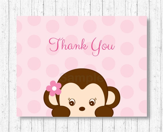cute monkey thank you card monkey baby shower pink monkey girl