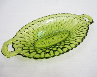 Indiana Glass Oval Green Honeycomb Handled Bowl