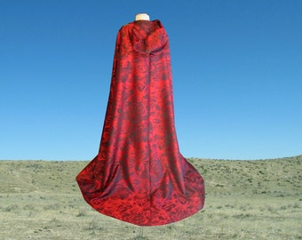 Red Cloak -  Floral- Wedding - Prom - Renaissance Festival - Halloween