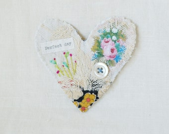 BROOCH Textile heart shaped.  Lace and hand embroidered teeny flowers