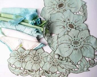 Vintage Linen Collection Blue Green Floral Set of Twelve - Cottage Chic