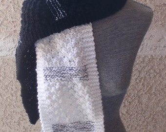 Black and white knitted scarf/two color knitted scarf/metallic/woman's scarf/long winter scarf/gift/ski/college/stocking stuffer/hand knit
