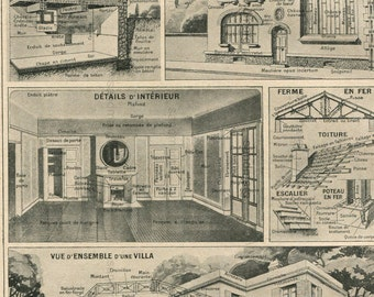 Vintage French Chart House Diagram Architectural Features Building Techniques