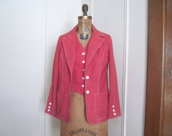 1960s Rusty Red + White Super Preppy Denim Blazer - MISS PEG ORIGINALS - vintage Summer Jean Jacket - size small / medium