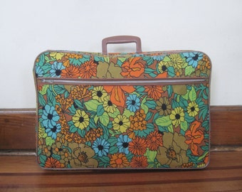 Flower Power on the Go - vintage retro fabric floral suitcase - travel bag, luggage, carryon, weekender, overnighter ... or just for storage