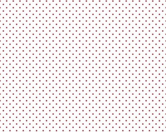 25% OFF Red Swiss Dots on White - 1/2 Yard