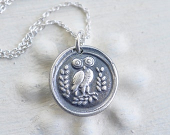 owl pendant - Athenian owl wax seal necklace … wisdom, vigilance - Greek owl - fine silver wax seal jewelry