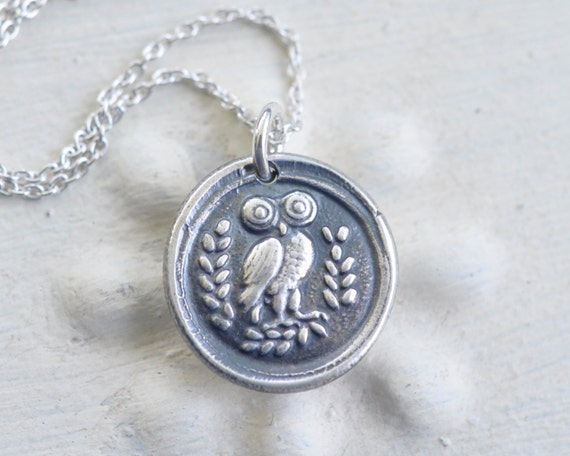 owl pendant - Athenian owl wax seal necklace … wisdom, vigilance - Greek owl - fine silver wax seal jewelry