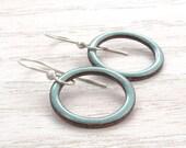 Turquoise Dangle Earrings, Glass Enamel, Open Circles, Vitreous Enamel, Round Earrings, Sterling Silver, #4183-106