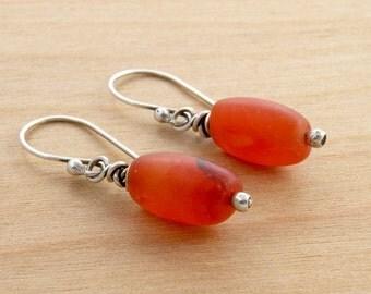 Carnelian Gemstone Earrings, Matte Orange Gemstone Dangle Earrings, Sterling Silver, Casual, Rustic, Minimalist,  #2152