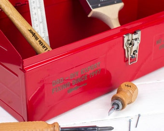 Tool Box with Personalisation - Engraved Metal Tool Box - DIY gift - Gifts for Dad - Gifts for Him