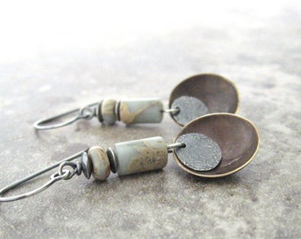 boho dangle earrings, mixed metal earrings, rustic stone and metal earrings, african opal earrings, oxidized jewelry