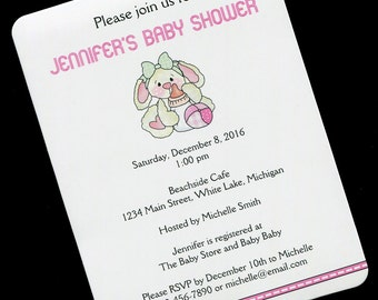 Baby Shower Invitations - Baby Girl Shower Invitation - Personalized Baby Shower Invitation - Bunny With Bottle And Ball - Set of 20