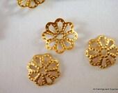 100 Brass Bead Cap Flower Unplated 8mm Filigree - 100 pc - F4089BC-UN100