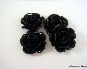 BOGO - 4 Cabochon Flower Bead Opaque Black 17mm - No Holes - 4 pc - CA2029-BK4 - Buy 1, Get 1 Free - No coupon required