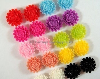 SALE - 20 Flower Cabochon Resin Beads Assortment 13mm - No Holes - 20 pc - CA2012-AS20