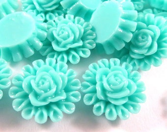 BOGO - 25 Seafoam Resin Cabochon Beads Flower Bead 13mm - No Holes - 25 pc - CA2012-S25 - Buy 1, Get 1 Free - No coupon required