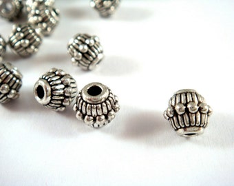 25 Spacer Beads Metal Bead Antique Silver Plated 7x6mm LF/CF - 25 pc - M7023-AS25