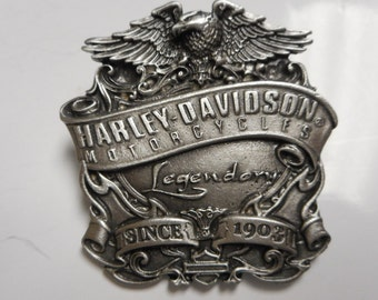 vintage harley davidson pin. GREAT SHAPE eagle with banner