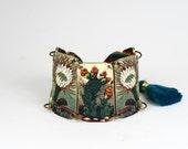 Folk Art Cactus Butterfly Southwestern Linked Bracelet Butterfly Bracelet Native American Bracelet Cactus Butterfly Bracelet Frida Bracelet