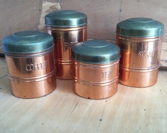 Vintage Dutch Copper Canisters | Four Retro Kitchen Canisters | Mid Century Kitchen Decor