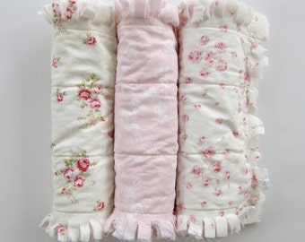 Burp Cloth Set, Pink White Flannel Burp Rags, Baby Rag Quilt, Burpies, Cottage Chic Decor, Baby Gift Set