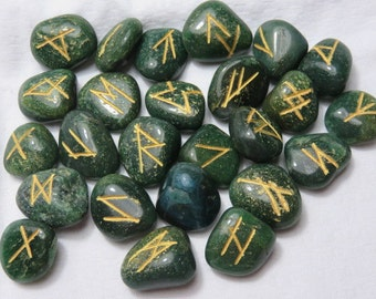 Runes Set GREEN AVENTURNE Runes Set Healing Crystal Healing Stone Runes Set Stones of Mystery