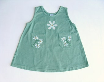 Daisy Flower Dress, Two Pocket Sleeveless Cotton Jumper Hand Dyed Sage Green, Hand Painted, Baby and Toddler