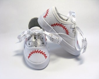 Baseball Shoes, Sports Theme Birthday Party, Baseball Mom or Dad Gift, Hand Painted Sneakers,  Boys or Girls, Baby or Toddler