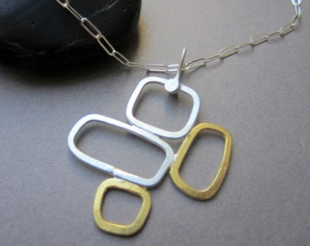 "23K gold & silver mixed metal ""4 Pane"" rectangles necklace"