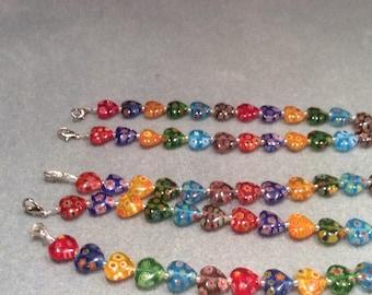Milliefiore Multi-color Heart Bracelet