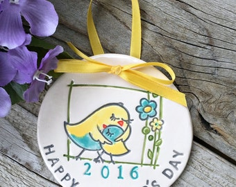 Happy Mothers Day Ornament, Ceramic 2016 Mother's Day Ornament, Gift for Mom, Ready to Ship, Mothers Day Gift