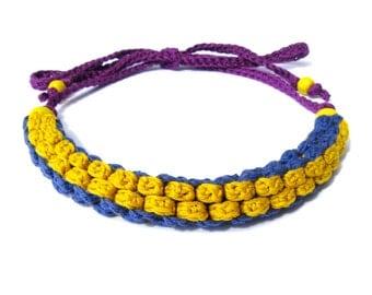 Crochet necklace,fiber necklace,cotton necklace,knot necklace,scooby doo necklace,yellow,blue,vegan,giada cortellini,textile necklace