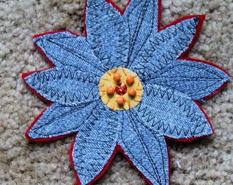 Fabric Brooch Retractable Badge Holder Hair Clip Blue Denim Orange Beads Machine and Hand Stitched